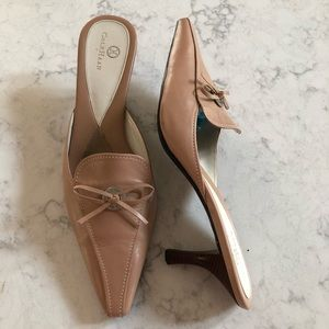 Cole HAAN Leather Mules Blush Pink Taupe Shoes 9.5